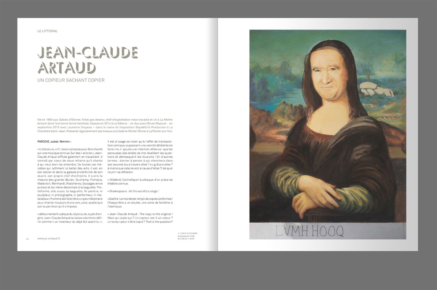 Éditions Le Livre d'Art, article sur JC Artaud, portrait de Bernard Arnaud en Joconde. LVMHHOOQ