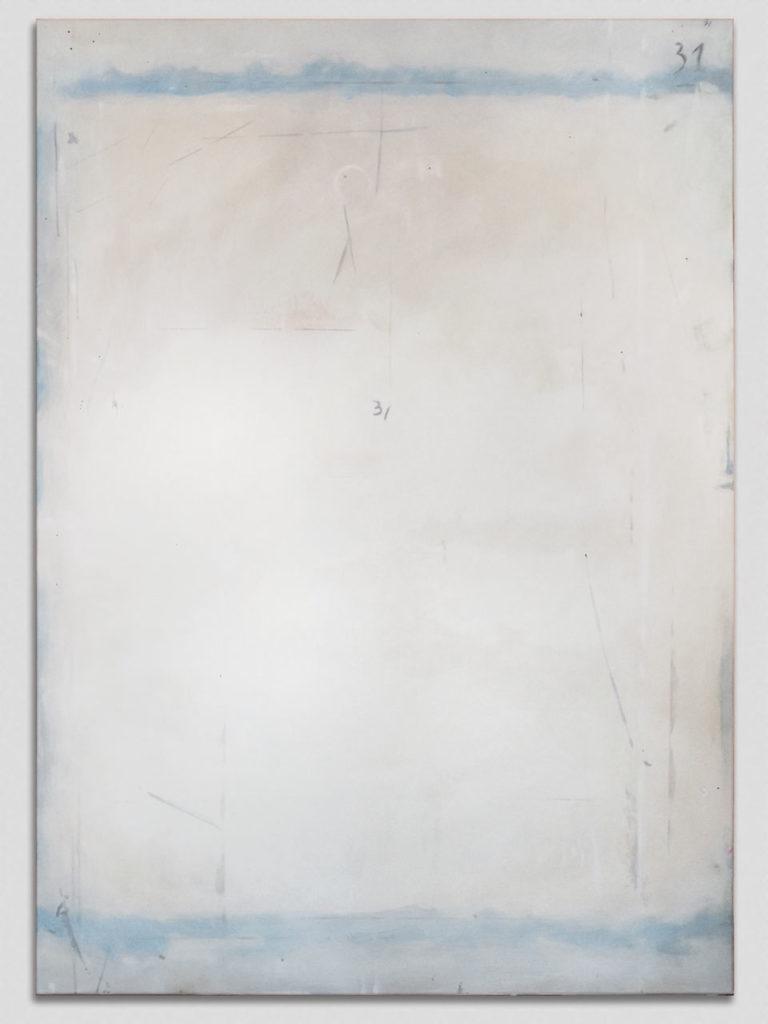 Table de travail et traces, atelier d'artiste